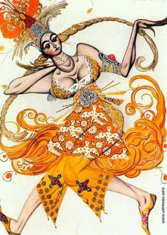 """Бакст Л. С. Эскиз костюма к балету на музыку Стравинского """"Жар-птица"""""""