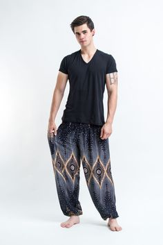 Diamond Peacock Men's Harem Pants in Black
