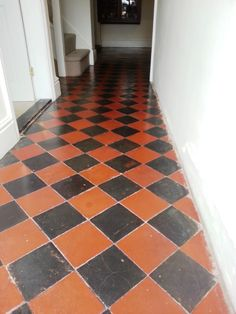 Details below of a restorative clean and seal that I recently completed on a Quarry tiled hallway at a house in the small village of Riseley, North Bedfordshire. The floor was a mix of fantastic black and red tiles; Black Kitchen Floor Tiles, Hexagon Tile Bathroom Floor, Large Kitchen Tiles, Small Bathroom Tiles, Tile Floor, Victorian Hallway, Victorian Tiles, Minton Tiles, Tiled Hallway