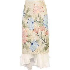 Biyan - Mirea Embroidered Brocade And Silk-organza Midi Skirt ($920) ❤ liked on Polyvore featuring skirts, ecru, embroidered skirt, calf length skirts, midi skirt, mid calf skirts and brocade skirt