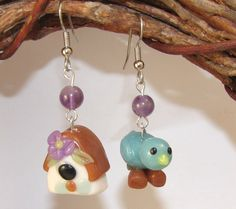Mismatched Dangle Earrings - Bluebird and Bird House - Look a Like Glass Lampwork. $12.00, via Etsy.