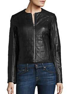 Dawn Levy Solid Leather Jacket - Black - Size