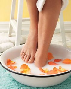All you need for a foot bath is a basin and warm water, but if you care to up the ante, we've got a few ideas.