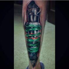 The Calf Spring Biomechanical Tattoo by ANTON DAINEKO is a good example of a biomechanical tattoo style. Biomech Tattoo, Biomechanical Tattoo Design, Best Sleeve Tattoos, Cool Tattoos, Mechanic Tattoo, Wing Tattoo Designs, Calf Tattoo, Future Tattoos, Tattos