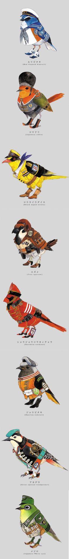 日本插畫師ryotakemasa,給小鳥穿上軍裝。