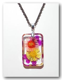 Handmade Jewelry Resin with Dried flowerColorful by Annysworkshop, $15.00