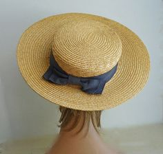 """20.5"""" 1900s  1910  woman's straw boater by fifisfinds on Etsy, $80.00"""