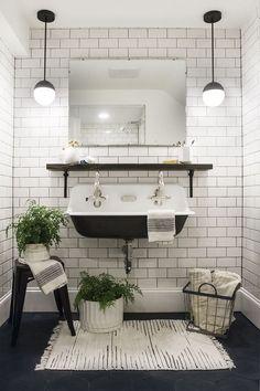 Trough style double sink | White subway tiles | Pendant lights