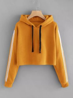 Orange Drawstring Varsity Striped Sleeve Crop Hoodie Women Clothes Autumn Casual Hooded Long Sleeve Sweatshirts Pullovers Size S Color Orange Teenage Outfits, Teen Fashion Outfits, Trendy Outfits, Girl Outfits, Jeans Fashion, Stylish Dresses, Fashion Ideas, Fashion Trends, Womens Fashion