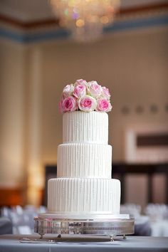 white wedding cake with pink rose floral cake topper ~  we ❤ this! moncheribridals.com