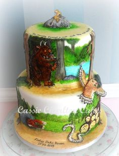 christening cake based on 'The Gruffalo' all hand painted and cut Gruffalo Party, The Gruffalo, 4th Birthday Cakes, Birthday Ideas, Birthday Parties, Woodland Cake, Woodland Party, Forest Cake, Character Cakes