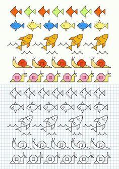Graph Paper Drawings, Graph Paper Art, Easy Drawings, Blackwork Patterns, Blackwork Embroidery, Cross Stitch Patterns, Art Plastique, Preschool Crafts, Doodle Art