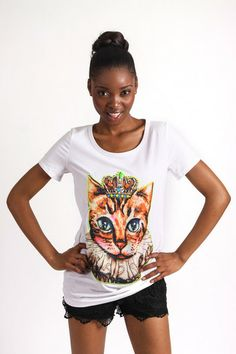 WHITE PRINCESS CAT GRAPHIC T-SHIRT R 275.00 - Stretch t-shirt material - Longer length - Round neckline - Short sleeves - Embellished cat graphic on front Short Sleeves, Neckline, Cat, Princess, Tees, T Shirt, Collection, Women, Fashion