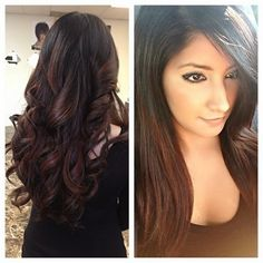 red ombre highlights on dark hair