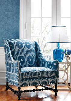 Mesa Ikat Linen Fabric from the Imperial Garden Collection by Thibaut, with graphic ikat design of circles and stripes in aqua. Ideal for bringing the energy of summer into your home. Furniture, Home Accessories, Interior, Home, Blue Accent Chairs, Upholstery Fabric Uk, Thibaut, Blue White Decor, Upholstery