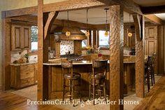 Custom Kitchen in a Timber Frame Home | PrecisionCraft Timber Frame Homes by PrecisionCraft Log Homes & Timber Frame, via Flickr