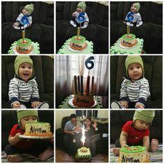 Partir pastel a los #6meses y celebrar su medio año, #fotomensual #Neythan