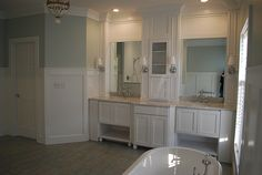 White Bathroom with fabulous built-ins