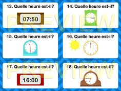 $ Task Cards in French + word wall - Telling the time - Quelle heure est-il? If you've never used task cards in your classroom, give them a try. They're fun : )
