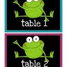 Table Numbers from the Frog Theme - Neon and Black.  Table numbers 1-6 come in Blue, Pink, Yellow, Purple, Green and Red.  ...