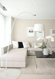 Soggiorno scandinavo, moderno ed elegante, con arredamento e decorazioni nei colori neutri a base di grigio