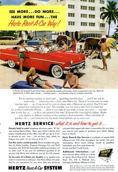kona kai club shelter island san diego 1950s hertz ad vintage vacation rental car yellow. Black Bedroom Furniture Sets. Home Design Ideas