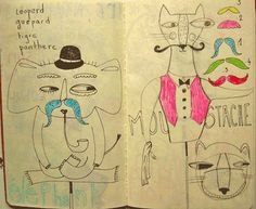 Julie Daleyden sketches. Very cute! Beaucoup des moustaches!