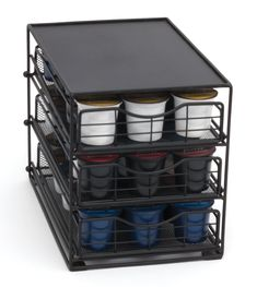 Coffee Pod Storage Drawers is a mesh cabinet that can store up to 45 coffee pods or more coffee accessories in one of three drawers. Coffee Pod Storage, Coffee Pod Holder, Coffee Pods, Coffee Beans, Lipper International, Coffee Accessories, Office Items, Storage Drawers, Kitchen Storage