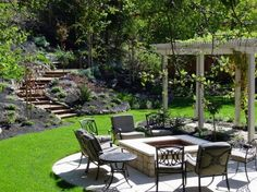 Like pergola, fire pit, and seating.