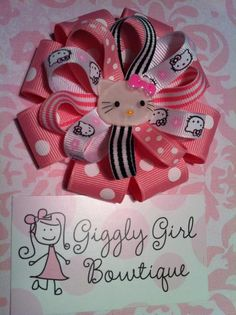 My New Hello Kitty Hairbow!  Check out my Giggly Girl Bowtique FB page!!!