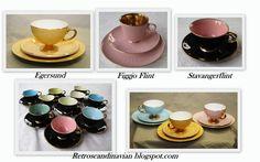 Love these retro mocca cups... from Norwegian producers... Egersund flint Figgjo Flint og Stavanger Flint...