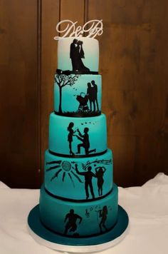 After a marriage proposal, their son was born. After that a great wedding ceremony was made in tiffany blue style ; Silhouette Cake, Wedding Silhouette, Amazing Wedding Cakes, Elegant Wedding Cakes, Pretty Cakes, Cute Cakes, 25th Wedding Anniversary Cakes, Cake Story, Funny Birthday Cakes