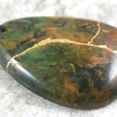 green opal stone kintsugi pendant