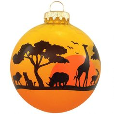African Animal Silhouette Glass Ornament from Bronner's Christmas store of Christmas ornaments and Christmas lights Christmas Door Wreaths, Christmas Tree Themes, Christmas Balls, Xmas Decorations, Christmas Traditions, Christmas Crafts, Christmas Ornaments, Christmas Pageant, Xmas Tree