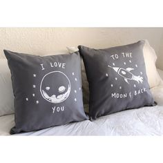 pillow case for his and hers | ... you to the moon and back - His and Hers Pillow Covers... - Polyvore