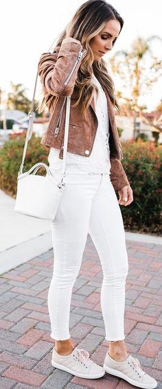 brown and white_biker jacket + top + bag + skinnies + sneakers