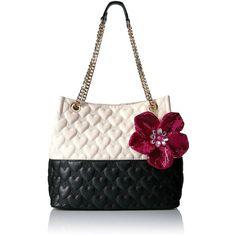 Betsey Johnson Be My Better Half Shoulder Handbag ($100) ❤ liked on Polyvore featuring bags, handbags, shoulder bags, white purse, betsey johnson, white shoulder bag, white handbag and betsey johnson purses