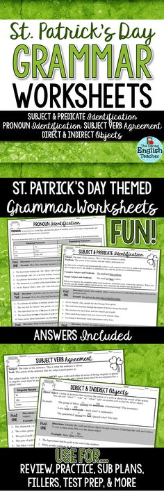 St. Patrick's Day grammar worksheets are a fund way to learn, review, and practice important grammar concepts. Ideal for middle school and high school English classes. Teaching grammar.