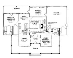 First Floor Plan of Country House Plan 68178....under 2000 sq ft but lots of space