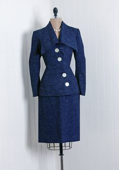 1940's Navy Silk Jacket and Pencil Skirt Suit.