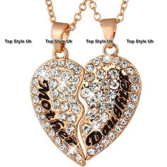 Rose Gold Jewellery Mother And Daughter Necklaces Crystal Heart Gifts For Her S1 #ebay #Fashion