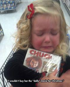 Ze is verdrietig omdat ze de film over de mooie pop niet kreeg.
