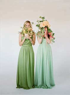Bridesmaids dresses in clover and mint make the bridal party feel extra lucky. #Weddings #Bridesmaids