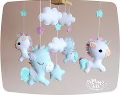 Baby mobile unicorn Baby mobile pegasus White baby mobile magic Crib mobile neutral nursery mobile Baby girl mobile Baby boy mobile