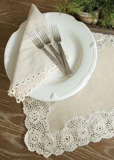Blue Ribbon Crochet Napkins - Set of 2   Heritage Lace