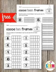 Free Cocoa Ten Frames and Teen Frames. Perfect for a winter unit, a preschool math center or kindergarten math activity!
