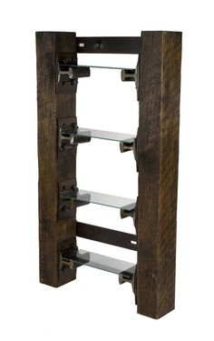Cool recycled railroad ties shelving!