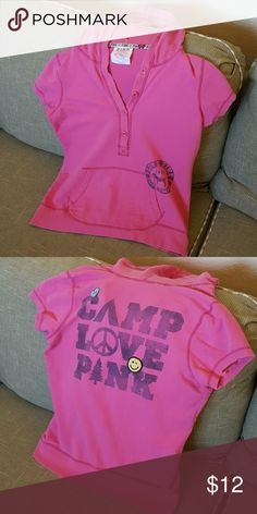 PINK Victoria's Secret Hoodie T Shirt Size large victoria's secret picture shirt. Includes a hood. Cute and cozy. Comment for a picture of it on. PINK Victoria's Secret Tops Tees - Short Sleeve