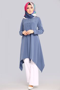 hijab chic Verev Cut Tunic Indigo … The actual scarf is a vi. hijab chic Verev Cut Tunic Indigo … The actual scarf is a vital bit within the Iranian Women Fashion, Islamic Fashion, Muslim Fashion, Hijab Casual, Hijab Chic, Hijab Style Dress, Hijab Outfit, Stylish Dress Designs, Stylish Dresses