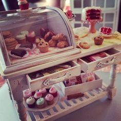 Miniature filled bakery counter display table by Kimsminibakery available now!